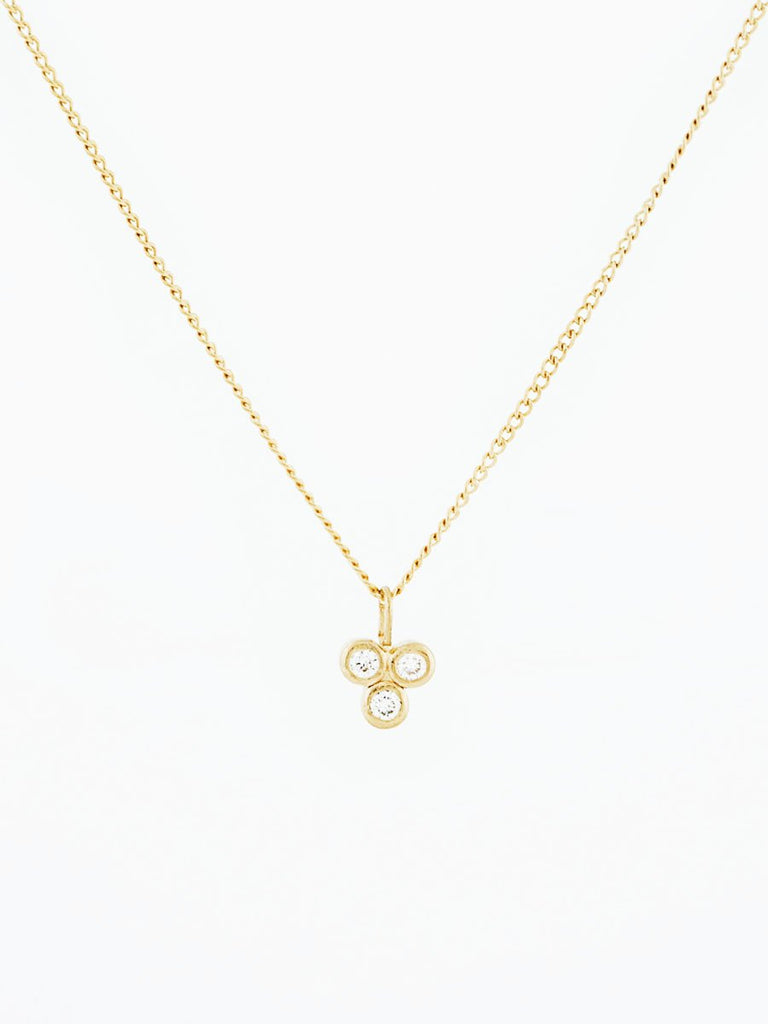 14k gold three stone diamond pendant necklace