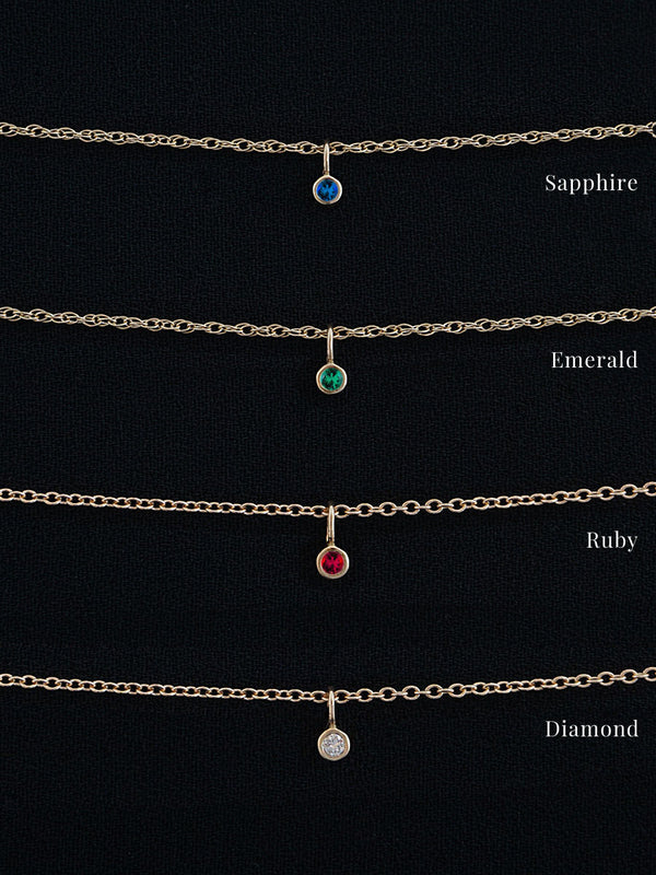 14k Petite Gemstone Necklace