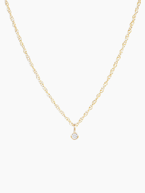 14k bezel set diamond necklace