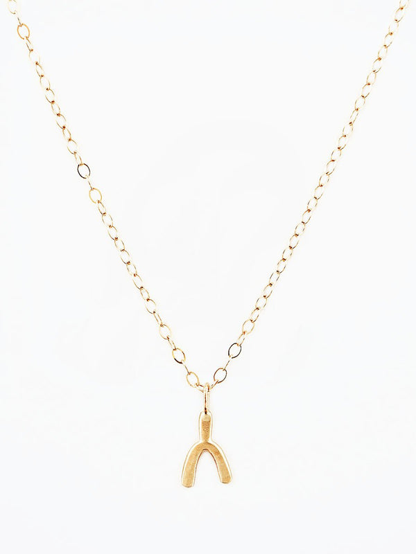14k gold wishbone charm necklace