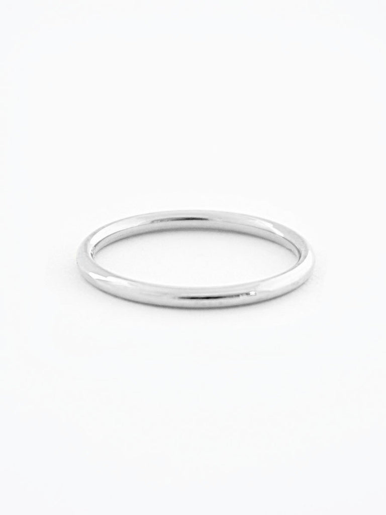 Silver minimalist wedding band
