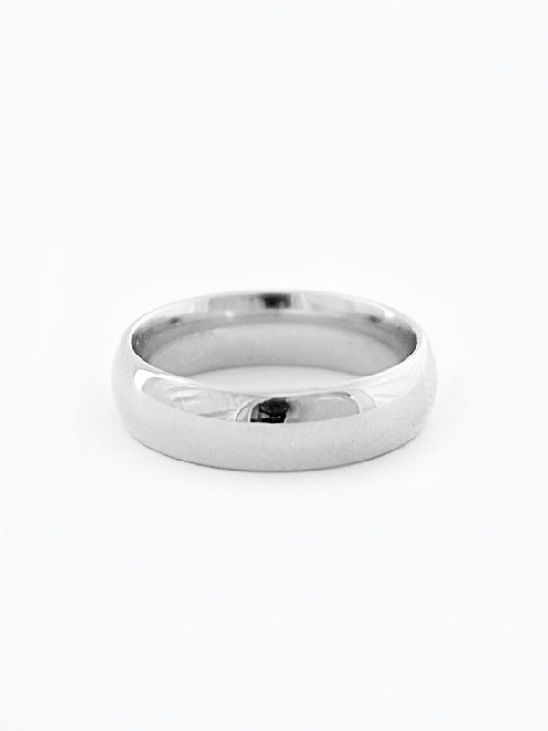 Platinum minimalist wide wedding band