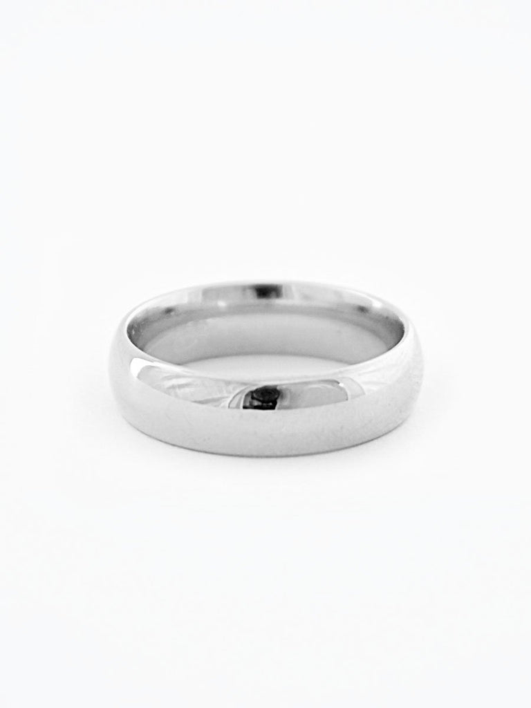 Silver minimalist wide wedding band