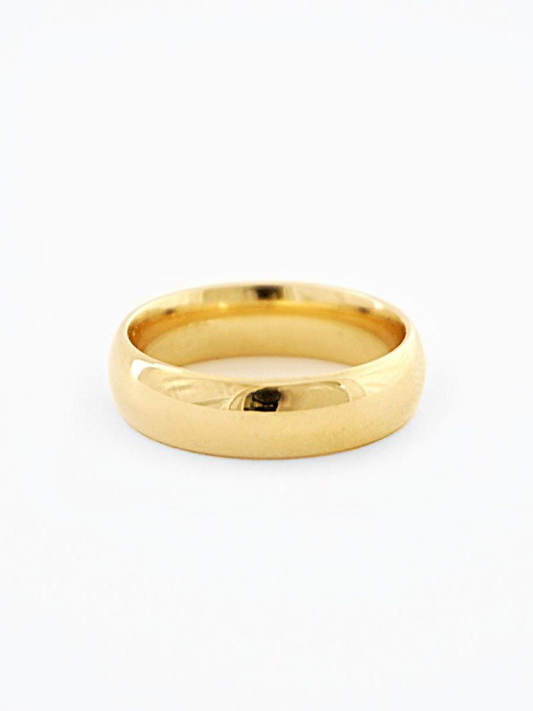 Gold minimalist wide wedding band