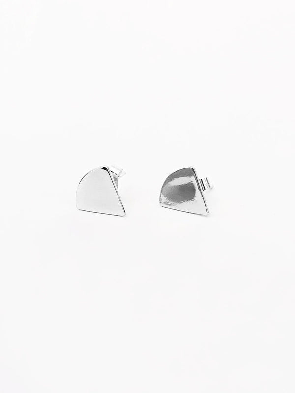 Sterling silver small triangle stud earrings
