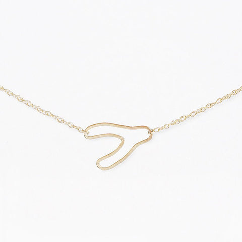 14k gold wishbone silhouette necklace