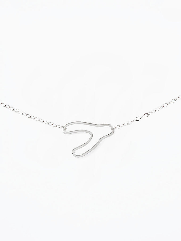 Sterling silver wishbone silhouette necklace
