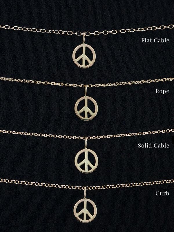 14k Peace Sign Necklace