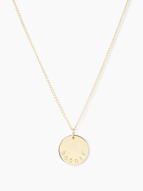 14k gold engraved round disc necklace