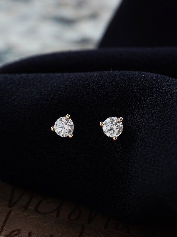 14k Solitaire Diamond Studs