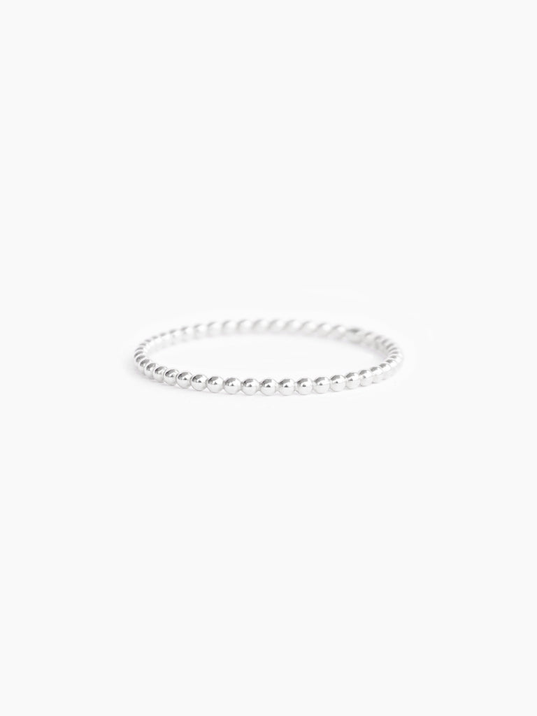 Sterling silver small beaded band ring