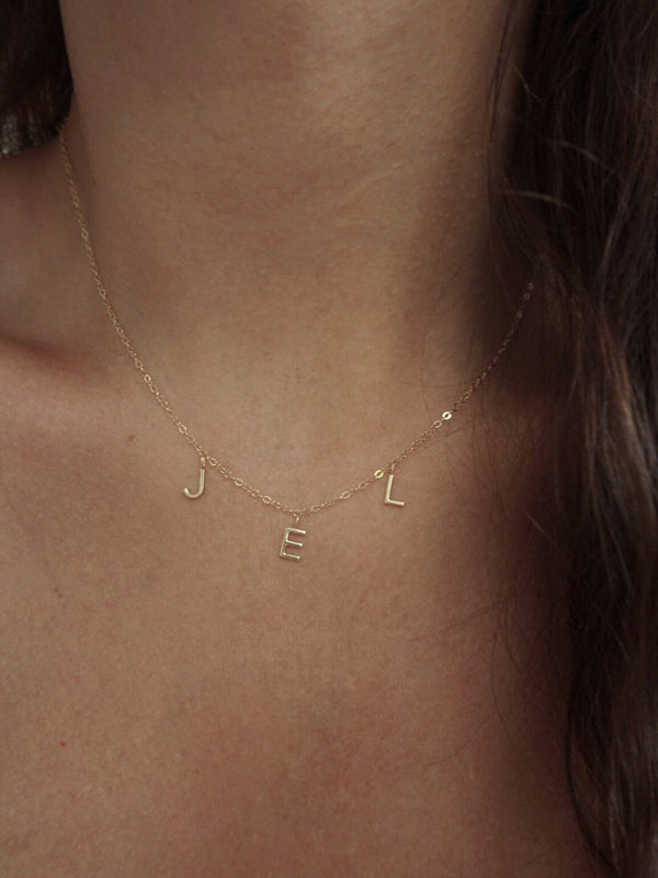 .925 Horizontal Mini Letter Necklace