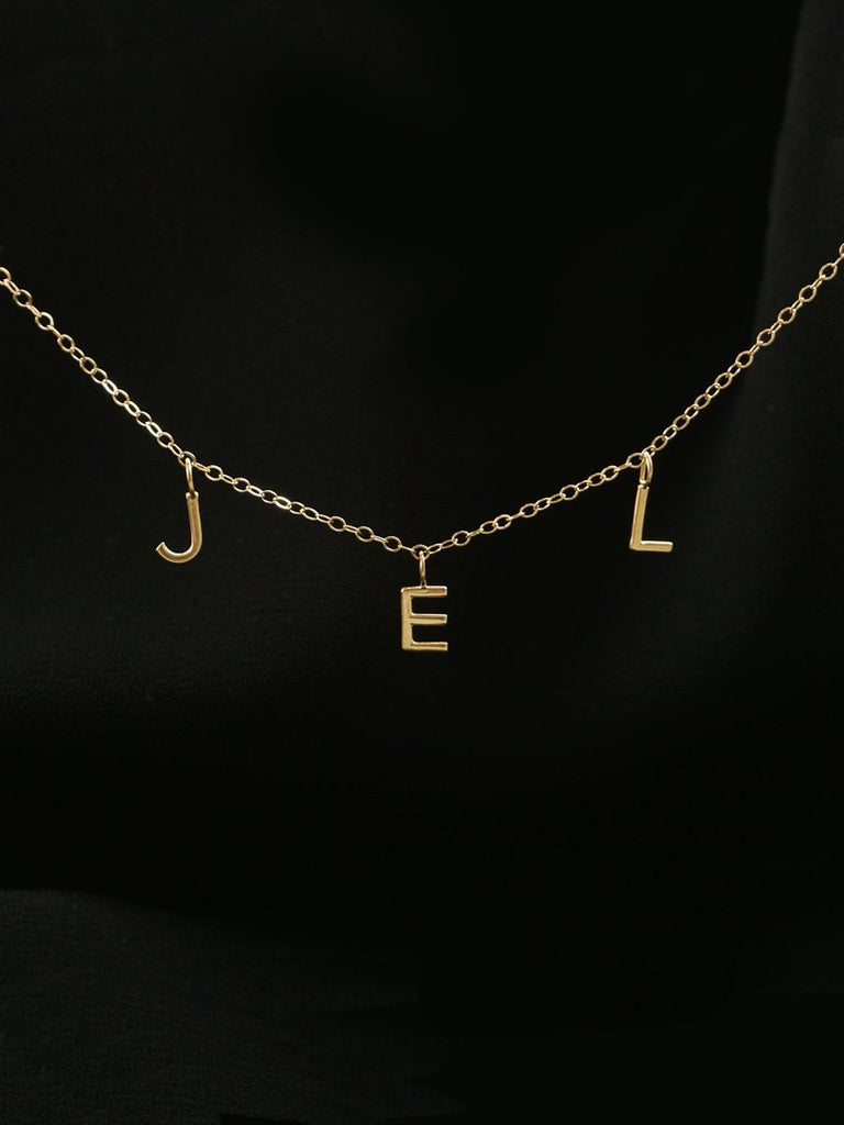 14k Horizontal Mini Letter Necklace