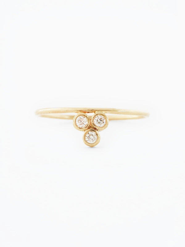 14k gold three stone diamond ring