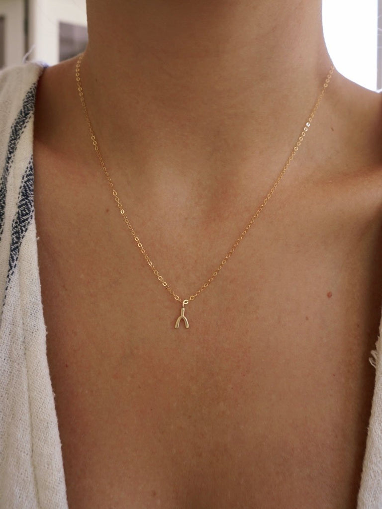 14k Wishbone Charm Necklace