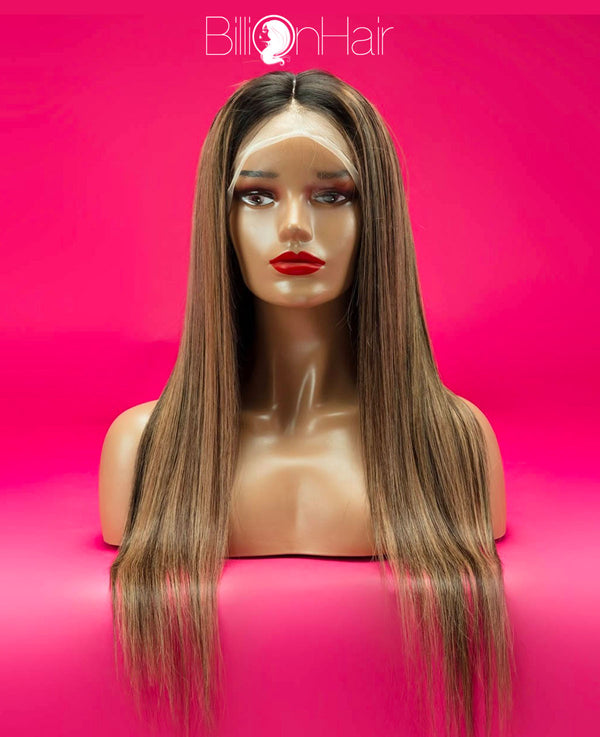 20 Inch Brown Straight Front Lace Wig
