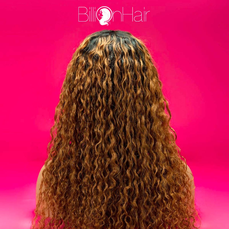 22 Inch Brown Waterwave Front Lace Wig