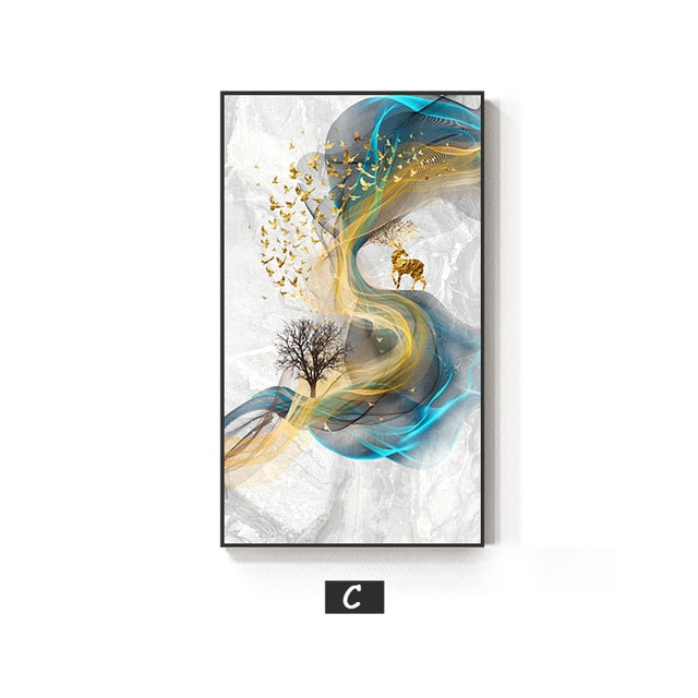 Large Canvas Prints Abstract Golden Deer Painting Big Size Poster Blue Print Gold Wall Art Picture for Living Room Decor 20x40cmx3 Unframed