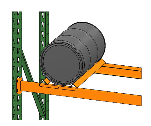 Steel drum on pallet racking and orange drum cradle by SaveMH from EGA Products