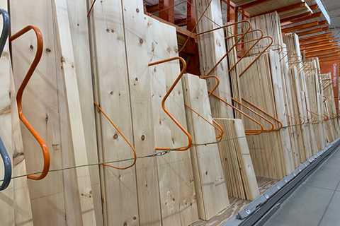 Orange M Dividers for Lumber in Retail Store by SaveMH
