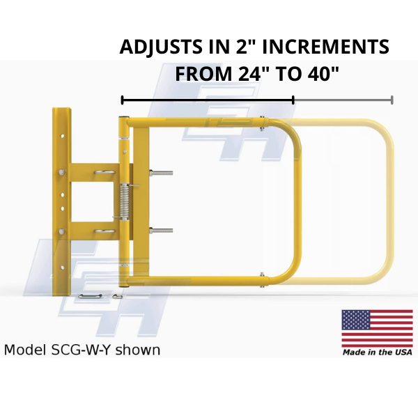 """Safety Swing Gate SCG-W-Y Adjustable 24""""-40"""" by 2"""" Increments by EGA Products"""