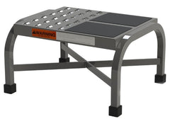 Heavy Duty Industrial Warehouse Step Stool shown with two options of perforated or vinyl rubber by SaveMH