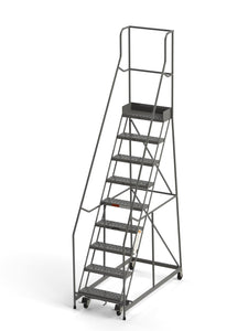 "Industrial Rolling Ladder - 9 Step 24""W Perforated Tread (Round Tube) - CA-B9026HSU"