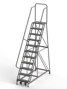 "11 Step Rolling Ladder 24"" Wide Treads from SaveMH Industrial warehouse ladder"