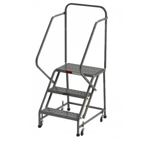 3 Step Rolling Ladder Knockdown handrails square tube L3020HKD by SaveMH