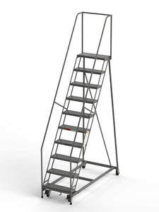 "10 Step Rolling Ladder 24"" Wide Treads from SaveMH Industrial warehouse ladder"