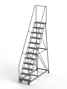 "12 Step Rolling Ladder 24"" Wide Treads from SaveMH Industrial warehouse ladder"