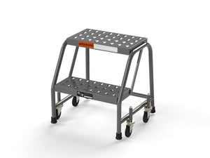 "2 Step Stool Rolling Ladder 16"" Wide Treads No Handrails from SaveMH"