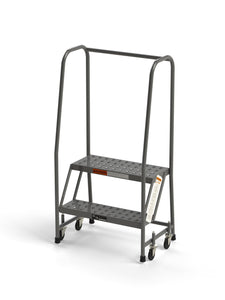 "2 Step Rolling Ladder Platform with Handrails 24"" Wide Tread from SaveMH"