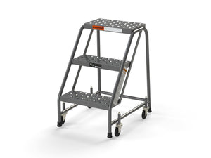 "3 Step Stool Rolling Ladder 16"" Wide Treads No Handrails from SaveMH"