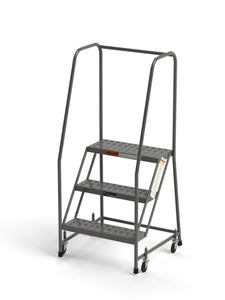 "3 Step Stool Rolling Ladder 24"" Wide Treads with Handrails from SaveMH"