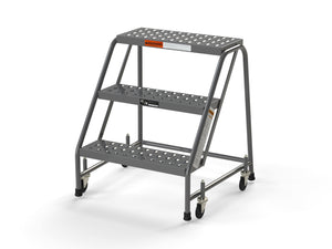 "3 Step Stool Rolling Ladder 24"" Wide Treads No Handrails from SaveMH"