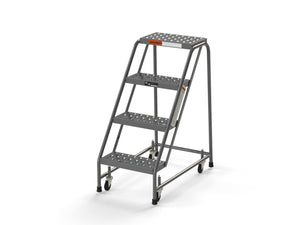 "4 Step Stool Rolling Ladder 16"" Wide Treads No Handrails from SaveMH"