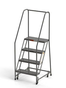 "4 Step Rolling Ladder 24"" Wide Treads with Handrails from SaveMH"