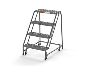 "4 Step Stool Rolling Ladder 24"" Wide Treads No Handrails from SaveMH"