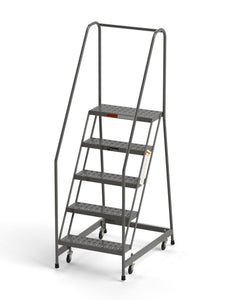 "5 Step Rolling Ladder 24"" Wide Treads from SaveMH Industrial warehouse ladder"