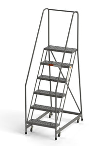 "6 Step Rolling Ladder 24"" Wide Treads from SaveMH Industrial warehouse ladder"