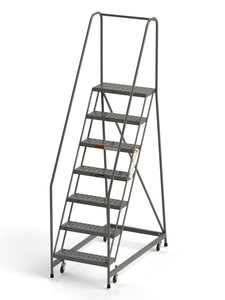 "7 Step Rolling Ladder 24"" Wide Treads from SaveMH Industrial warehouse ladder"