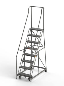 "8 Step Rolling Ladder 24"" Wide Treads from SaveMH Industrial warehouse ladder"