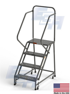 "4 Step Stool Square Tube Rolling Ladder 16"" Wide Treads with Handrails from SaveMH L006"