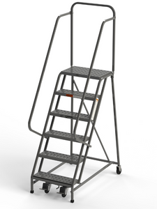 "6 Step Square Tube Rolling Ladder 24"" Wide Treads from SaveMH Industrial warehouse ladder L026"