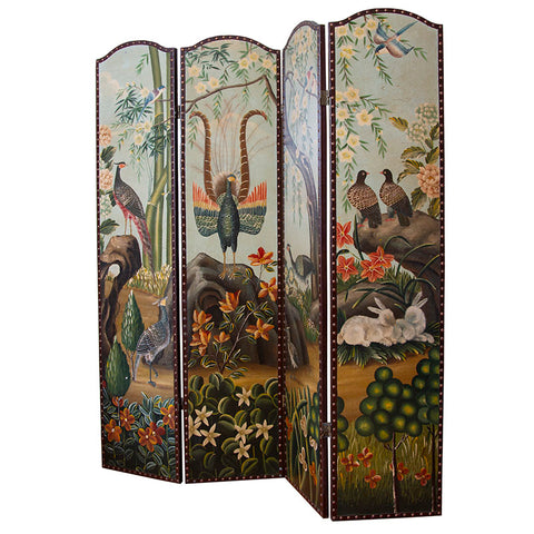 19th Century Hand-Painted Flora and Fauna Screen