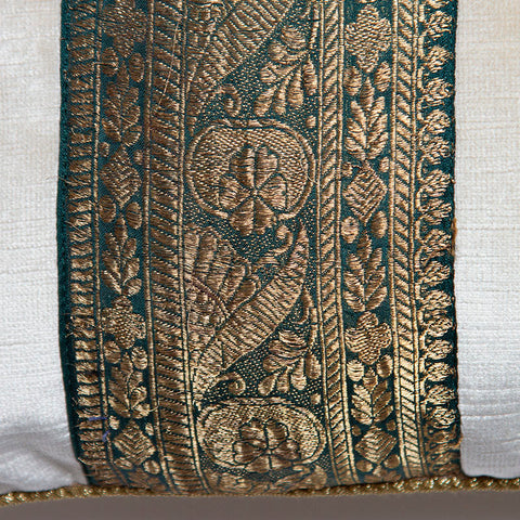 Antique Gold Embroidered Emerald Sari on Ivory Velvet