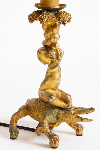 Bronze Cherub and Crocodile Lamp