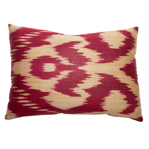 Burgundy and Tan Cotton and Silk Ikat
