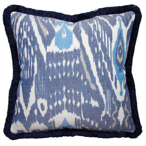 Clarence House Blue and White Linen Ikat